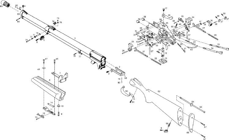 Схема устройства ружья МР-94