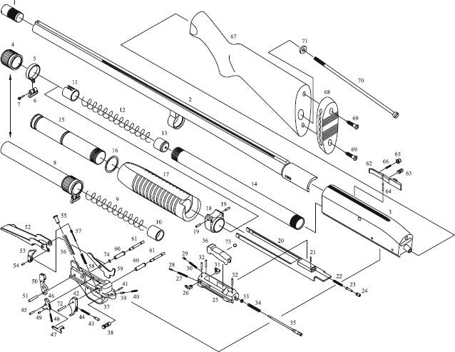 Схема устройства ружья МР-133