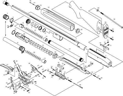 Схема устройства ружья МР-153