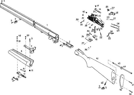 Схема устройства ружья МР-233