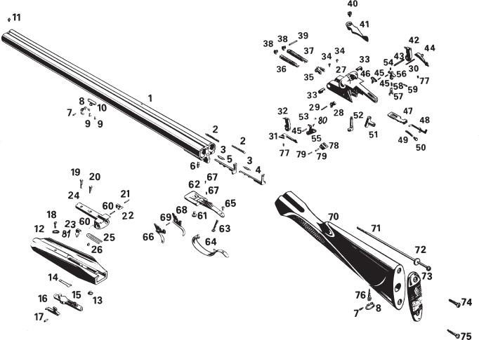 Схема устройства ружья МР-43Е