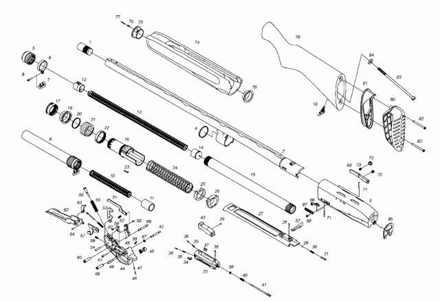 Схема устройства ружья МР-155