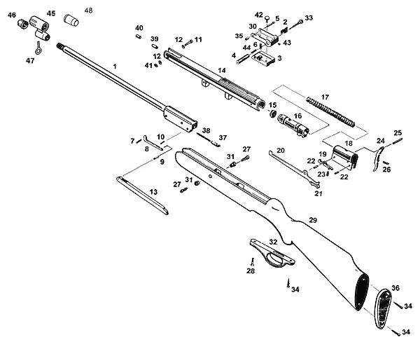 Схема устройства винтовки