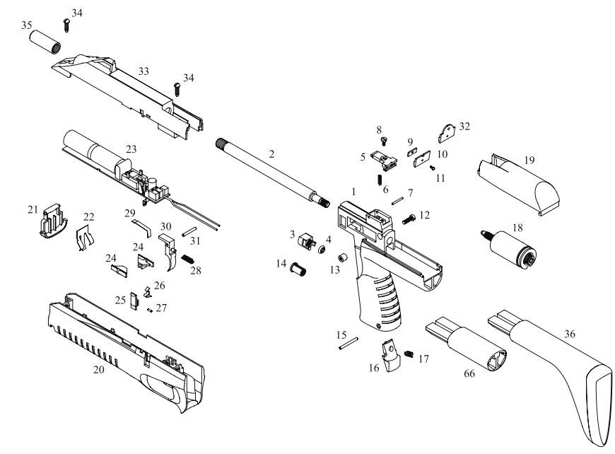 Схема устройства винтовки МР-
